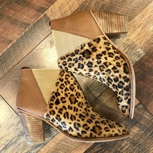 CHARLES DAVID Leopard Print Calf Hair Booties